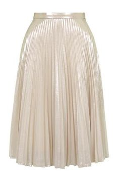 Foil Pleated Midi Skirt