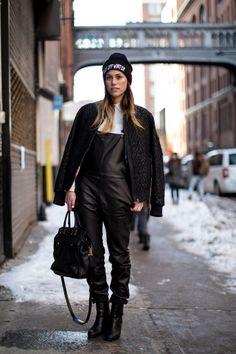 Leather overalls #NYFW #streetstyle