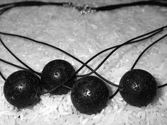leather necklace with 4 lava stone beads in black. by LaSolis, Volcanic Rock, Short Necklace, Leather Necklace, Stone Beads, Lava, Polymer Clay, Handmade Jewelry, Gems, Natural
