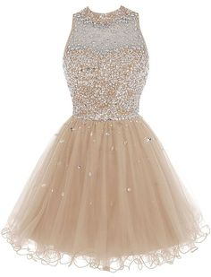 Bbonlinedress Short Tulle Beading Homecoming Dress Prom Gown Champagne 2