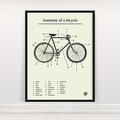 'Anatomy Of A Bicycle' Screen Print