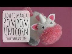 How to make a unicorn Pompom - Pompom crafts - Yarn Animals, Pom Pom Animals, Pom Pom Crafts, Yarn Crafts, Unicorn Stuffed Animal, Craft Projects, Sewing Projects, Pom Pon, Pom Pom Maker
