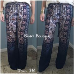 Paisley prints pants Beautiful navy multiprint wide leg pants with an Ombre effect towards bottom of pant legs..also has elastic and drawstring waist. S(2/4) M(6/8) L(10/12) Price firm Pants
