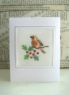 cross stitch robin christmas card by Handmade and Heritage Cross Stitch Owl, Cross Stitch Cards, Cross Stitching, Cross Stitch Embroidery, Cross Stitch Patterns, Cross Stitch Christmas Cards, Christmas Cross, Embroidery Cards, Tapestry