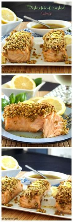 PISTACHIO-CRUSTED SALMON - salmon filets spread with a honey-lemon-mustard glaze, topped with a pistachio-panko crumb, and drizzled with a honey-lemon vinaigrette. Delicious and healthy. http://www.simplysated.com/