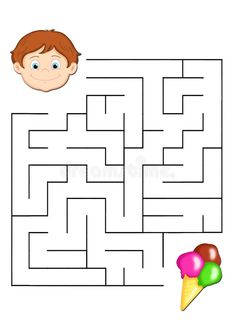 Illustration about Digital illustration of a game for children. You find the correct road to let child to eat the ice cream. Illustration of greediness, labyrinth, instructive - 15168327 Mazes For Kids Printable, Fun Worksheets For Kids, Games For Kids, Diy For Kids, Crafts For Kids, Cardboard Crafts Kids, Paper Crafts, Arabic Alphabet For Kids, Projects For Kids