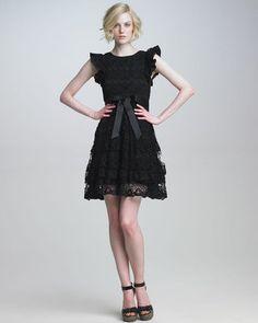 RED Valentino Ruffle-Sleeve Lace Dress