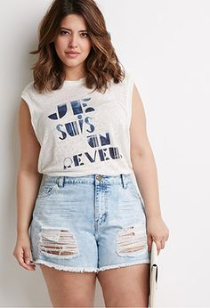 Forever 21+ - Get a jumpstart on planning your summer wardrobe with this pair of denim cutoffs. They feature a distressed front that will add an edge to any look, while remaining totally comfy.