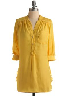 Pam Breeze-ly Tunic in Yellow - Yellow, Solid, Buttons, Pockets, Casual, Long Sleeve, 3/4 Sleeve, Long, Sheer, Best Seller, Button Down, V Neck, Variation