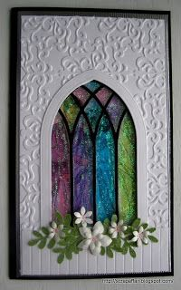 """Memory Box window die. """"Pane"""" is acetate colored with Copic markers & covered with Stickles. Also try acetate & alcohol ink!"""