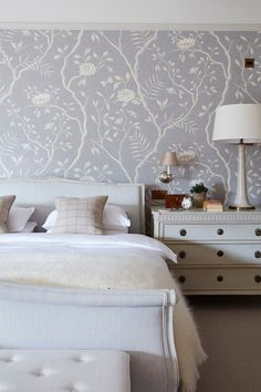 Pale Lavender Bedroom - An elegant redecoration of a house in Surrey by interior designer Emma Sims Hilditch, all in time for Christmas - bedrooms on HOUSE by House & Garden. Wood Bedroom, Master Bedroom Design, Bedroom Decor, Bedroom Ideas, Master Bedrooms, Interior Design Pictures, Home Interior Design, Interior Ideas, Home Decor Furniture