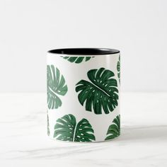 Tropical Hand Painted Swiss Cheese Plant Leaves Two-Tone Coffee Mug Flower Pot Art, Flower Pot Design, Painted Plant Pots, Painted Flower Pots, Tropical Mugs, Swiss Cheese Plant, Pottery Painting Designs, Hand Painted Mugs, Plant Painting