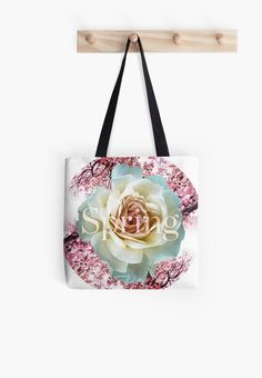 All natural white rose over blossom trees background, all over spring scheme. • Also buy this artwork on bags, apparel, stickers, and more.