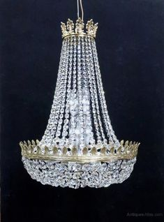Antiques Atlas - Large Crystal Glass Empire Style Basket Chandelier