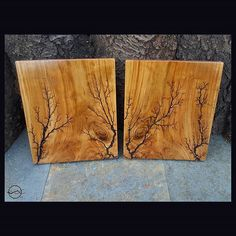 Seeing Double?  From a raw log sitting in a driveway, sunbleached and on the verge of rot, to these 2 book-matched pieces of art. . This set is available in our Etsy shop. Www.cutbranchdecor.etsy.com . #Lightning #walldecor #housewarming #homedecor #wooddecor #woodwork #woodworking #reclaimedwood #wood #homestyle #interiordesign #cutbranch #madeinnewyork #fractalart #fractal #highvoltage #mancave #electricity  #mirrorimage #etsyusa #etsyhandmade #handmade #decor