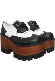 Mary Joe - Zapatos Plataforma Picado Cuero blanco y negro