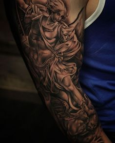 Punish Evil Everywhere. Tribal Tattoos, Black Tattoos, Forearm Sleeve Tattoos, Full Sleeve Tattoos, Dad Tattoos, Body Art Tattoos, Tatoos, Armor Of God Tattoo, St Michael Tattoo