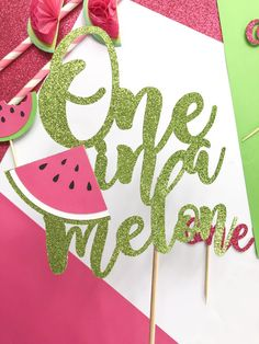 One in a Melon First Birthday - One in a Melon Cake Topper - Watermelon Birthday - Watermelon Cake Topper - One in a Melon - Summer Birthday First Birthday Decorations, Girl Birthday Themes, First Birthday Cakes, Girl First Birthday, Baby Birthday, First Birthday Parties, First Birthdays, Birthday Ideas, Watermelon Birthday Parties