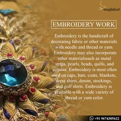 #DidYouKnow #embroiderywork #Fabric Types Of Embroidery, Indian Embroidery, Beaded Embroidery, Indian Fabric, Indian Textiles, Fashion Terminology, Indian Folk Art, Fashion Vocabulary, Handloom Saree