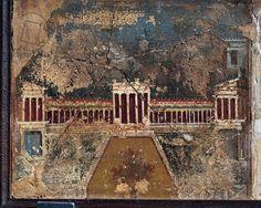 Ancient Roman fresco with architectonic themes from Pompeii (1st century)