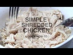 Simple Shredded Chicken: A Quick How-To - - Check out this post for a simple how-to on cooking and shredding chicken to use in any meal that calls for cooked chicken! Slow Cooker Shredded Chicken, Mexican Shredded Chicken, Shredded Chicken Recipes, Cooked Chicken, Chicken Lettuce Cups, Lime Chicken Tacos, New Recipes, Cooking Recipes, Healthy Recipes