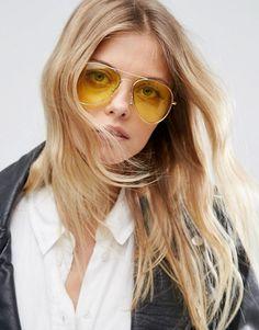 ASOS   ASOS Aviator Sunglasses with Yellow Lens