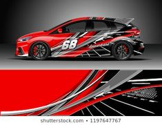Graphic abstract stripe racing background kit design for wrap vehicle, race car, adventure and livery Car Wrap Design, Kit Design, Design Vector, Cargo Van, Sports Car Racing, Lightning Mcqueen, Car Painting, Rally Car, Car Decals
