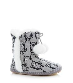 Grey (Grey) Grey and White Owl Slipper Boots Sock Shoes, Shoe Boots, Owl Clothes, Teen Guy Fashion, Shoe Gallery, Slipper Boots, Grey And White, New Look, Fashion Online