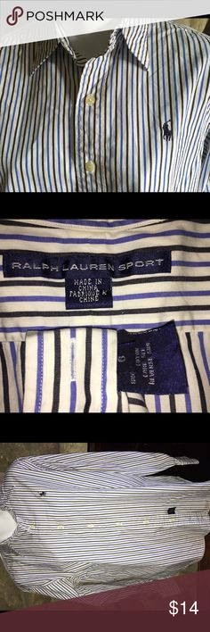 Ralph Lauren Polo Sport cotton Oxford shirt Ralph Lauren crisp styling sets blue and black stripes against a white background. Black embroidered Polo logo on left chest, woman's size 6, but could work for a teen girl or boy.  The size/care tag is sewn into the bottom front. (If you want to wear the shirt out, simply cut it off.) The collar is not a button down collar. It would be perfect under a blazer or sweater. Pre-loved, smoke free & ready for your preppy closet. Polo by Ralph Lauren…