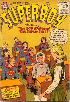 Adventure Comics #392, April 1970, cover by Curt Swan and Murphy Anderson Superboy #48, April 1956, cover by Curt Swan and Ray Burnley