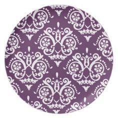 Purple and White Elegant Damask Dinner Plates