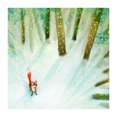 A little fox stops to listen to the falling snow. x High quality giclee print, heavy art paper, archival inks. Signed, limited edition of Mounted and wrapped. Fox Images, Mr Fox, Fox Art, Woodland Creatures, Nursery Inspiration, Illustrations Posters, Foxes, Illustration Art, Drawings