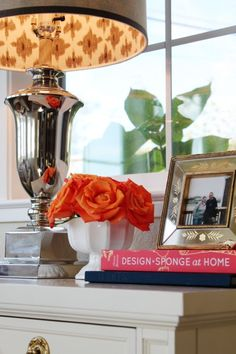 I need to create pretty little vignettes throughout out home. Also, I love the lining of that lamp shade!