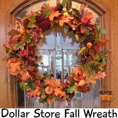 Fall wreath tutorial made from Dollar Store stuff. Great {cheap} ideas. #fall #dollarstore #leaves www.houseofhepworths.com