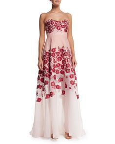 B33MX Lela Rose Raised-Floral Strapless Gown, Pink