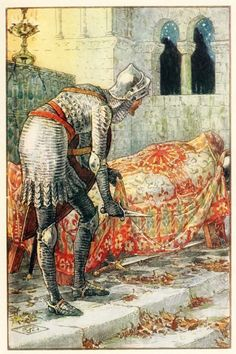 Sir Lancelot in the Chapel Perilous, from 'Stories of the Knights of the Round Table' by Henry Gilbert, first edition, 1911 Illustration by Walter Crane Walter Crane, King Arthur Legend, Legend Of King, King Arthur's Knights, Knights Templar, The Lady Of Shalott, Roi Arthur, Art Nouveau, First Knight