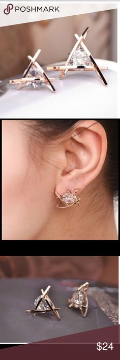 470343fa72c0 HP best in boutique Swarovski unique earrings rose gold plated swarovsky  very uniqueprice is firm ❣