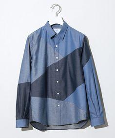 STUDIOUS MENS(ステュディオス メンズ)のSTUDIOUS バイヤスカットシャツ【先行予約】(シャツ/ブラウス) ブルー