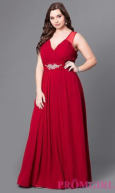 Long Formal Plus-Size Prom Dress with Sheer Back at PromGirl.com