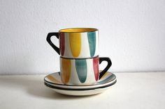 Vintage Tea Cups Saucers Pair Tricolor Aveiro by CakeNumber9, $52.00