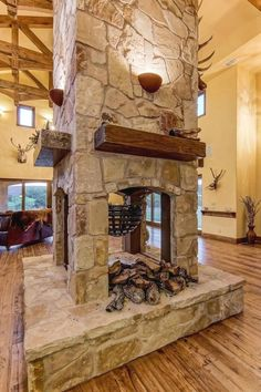 four side fireplace - Transform your Spacious Space with a Double-Sided Fireplace Popular Ideas The Barndominium Floor Plans & Cost to Build It Metal Building Homes, Metal Homes, Building A House, Building Ideas, Building Systems, Morton Building Homes, Building Images, Rustic Mantel, Rustic Fireplaces