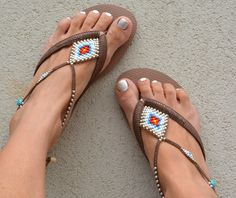 A personal favorite from my Etsy shop https://www.etsy.com/il-en/listing/266907316/bohemian-flip-flop-sandals-boho-style