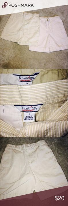 Kitestrings Short Bundle 2 pairs of kitestrings shorts, 1 pair is khaki with white stripes & 1 pair of solid khaki shorts. In great condition Hartstrings Dresses