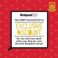 Calling all Dragons! Check out Bratpack EXCLUSIVE DISCOUNT to AU&P Community!  Get a 10% OFF on all product just present your ID/Alumni Card.  Fly over to Bratpack Stores in Metro Manila until October 15, 2016.  For more promo deals, VISIT http://mypromo.com.ph/! SUBSCRIPTION IS FREE! Please SHARE MyPromo Online Page to your friends to enjoy promo deals!