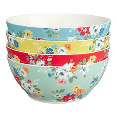 Set of 4 Clifton Rose Cereal Bowls | China Ranges | CathKidston