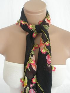 Traditional Turkish Yemeni Cotton Scarf With Lace by Arzus on Etsy, $30.00
