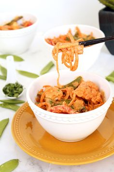 Creamy Vegetable Thai Red Coconut Curry with Sweet Potato Noodles made with the spiralizer