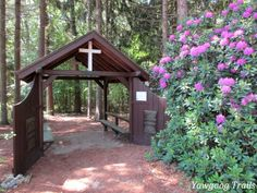 Adams Gate and rhododendron at Camp #Yawgoog.  Image by David R. Brierley.