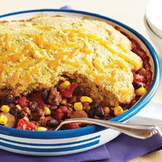 A one-skillet twist on a traditional chili with corn bread, this recipe uses both lean beef and black beans for a satisfying protein punch.