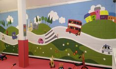 Stylised mural with transport